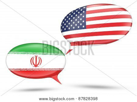 Iran - United States relations concept with speech bubbles