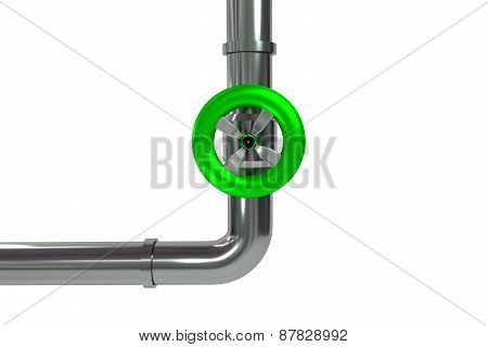 Industrial Pipeline With Green Valve Isolated