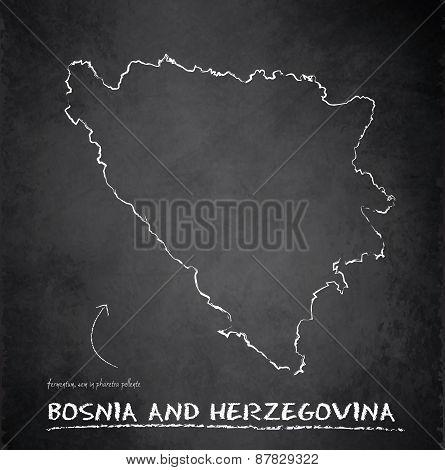 Bosnia and Herzegovina map blackboard chalkboard vector