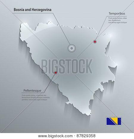 Bosnia and Herzegovina map flag glass card paper 3D vector