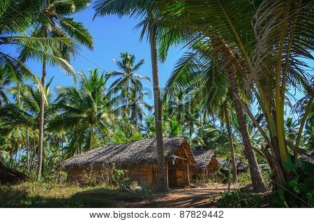 Fishermen Hut In The Tropical Village