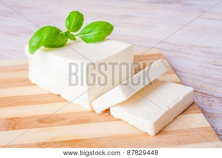 Feta Cheese On The Kitchen Board