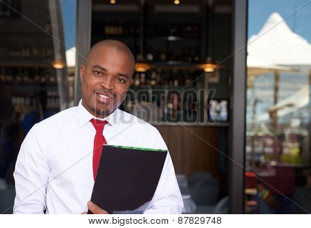 Happy man with folder