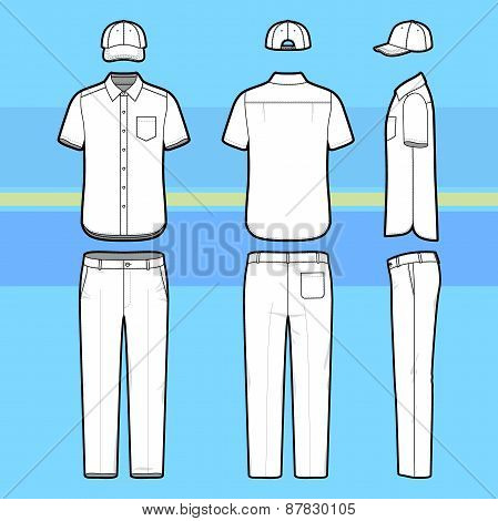 Simple Outline Drawing Of A Shirt, Pants And Cap