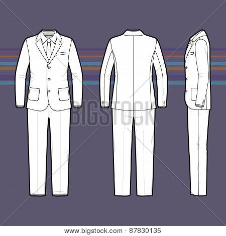 Simple Outline Drawing Of A Men's Suit