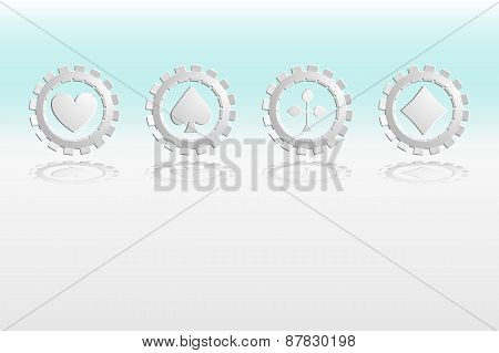 Vector Illustration of Falling wite Poker Chips Isolated on White background