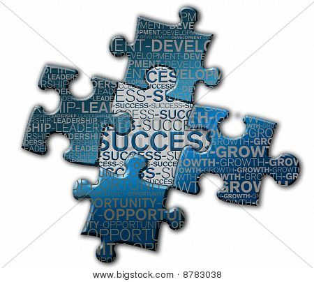 Piece of puzzle with the word success.