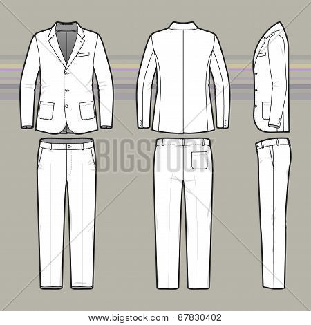 Simple Outline Drawing Of A Blazer And Pants