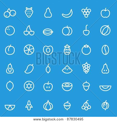 Fruit icon set, simple and thin line design