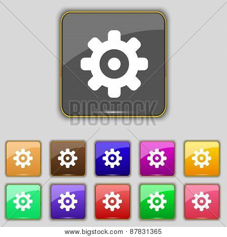 Cog Settings, Cogwheel Gear Mechanism Icon Sign. Set With Eleven Colored Buttons For Your Site. Vect