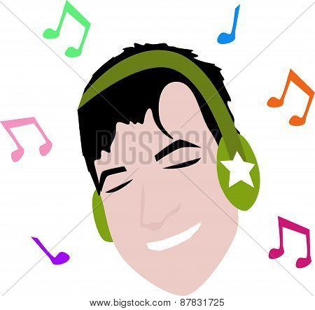 Cartoon man with headphone music.