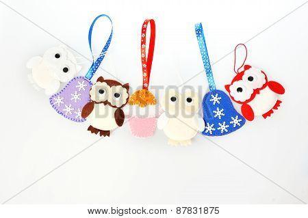 Handmade Christmas Decorations Toys Of Felt Owls, Bells, Cakes