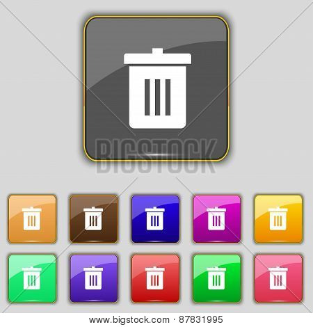 Recycle Bin, Reuse Or Reduce Icon Sign. Set With Eleven Colored Buttons For Your Site. Vector