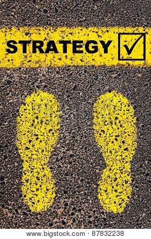 Word Strategy And Check Mark Sign. Conceptual Image