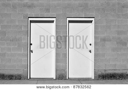 View of two doors representing choices we make in life