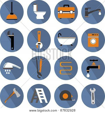 Flat Vector Bathroom Icons Set
