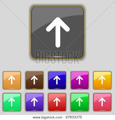 Arrow Up, This Side Up Icon Sign. Set With Eleven Colored Buttons For Your Site. Vector