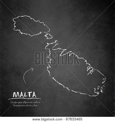 Malta map blackboard chalkboard vector