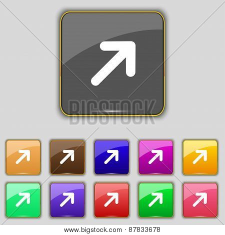 Arrow Expand Full Screen Scale Icon Sign. Set With Eleven Colored Buttons For Your Site. Vector