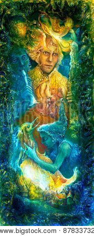 Golden Sun God And Blue Water Goddes, Fantasy Imagination Colorful Painting, With Birds And Flute Mu