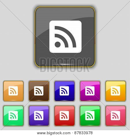 Rss Feed Icon Sign. Set With Eleven Colored Buttons For Your Site. Vector