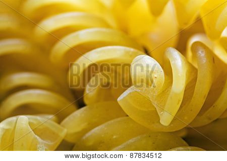 Spiral Shaped Pasta, Close Up With Selective Focus