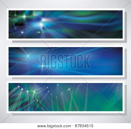 Vector  blue sparkling banners.