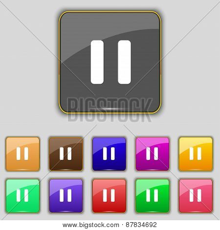 Pause Icon Sign. Set With Eleven Colored Buttons For Your Site. Vector