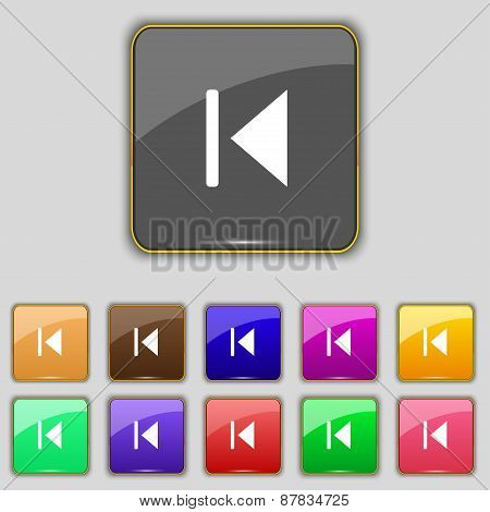 Fast Backward Icon Sign. Set With Eleven Colored Buttons For Your Site. Vector