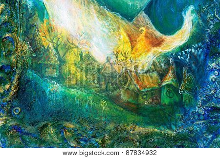 Fairy Tale Forest Village, Colorful Structured Painting