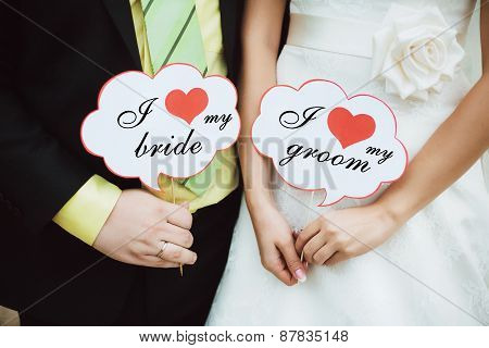 I Love My Bride. I Love My Groom. Wedding Couple