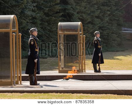An Honor Guard At The Eternal Flame