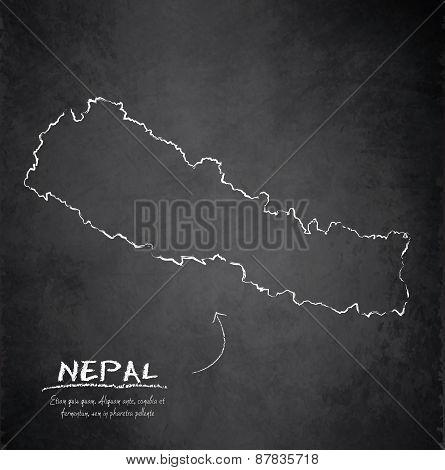 Nepal map blackboard chalkboard vector