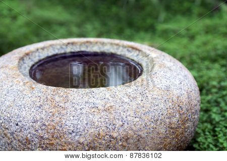 Round Water Basin Or Bird Bath Of Natural Stone Granite