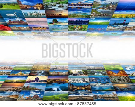 Multimedia background composed of many travel images from all over the world