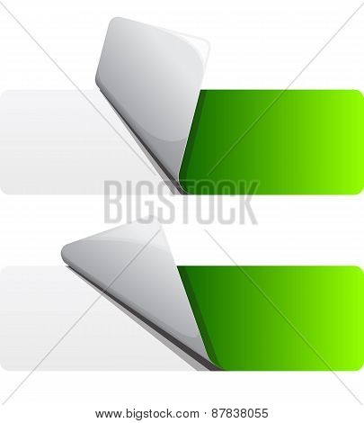 Green sticker with curled up edge.
