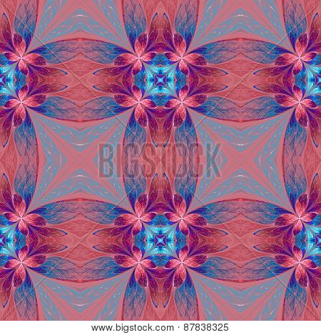 Symmetrical Flower Pattern In Stained-glass Window Style On Pink. Blue, Pink And Purple Palette. Com