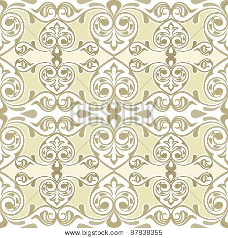 Seamless curly swirls vintage vector wallpaper pattern.