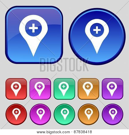 Plus Map Pointer, Gps Location Icon Sign. A Set Of Twelve Vintage Buttons For Your Design. Vector