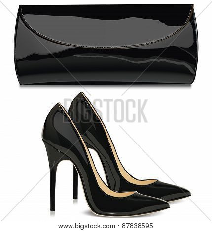 Pair Of Black Patent Leather Female High-heeled Shoes And  Mini Bag. Vector Illustration