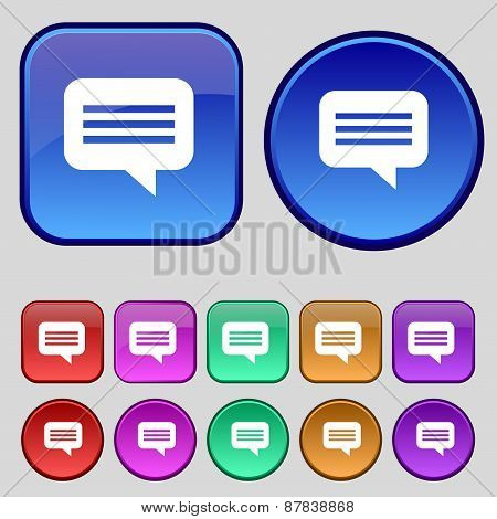 Speech Bubble, Chat Think Icon Sign. A Set Of Twelve Vintage Buttons For Your Design. Vector