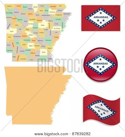 High Detailed Arkansas Map and Flag Icons