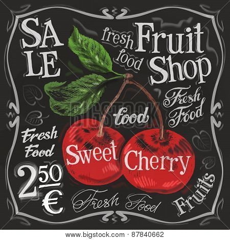 sweet cherry vector logo design template.  fresh fruit, food or menu board icon.