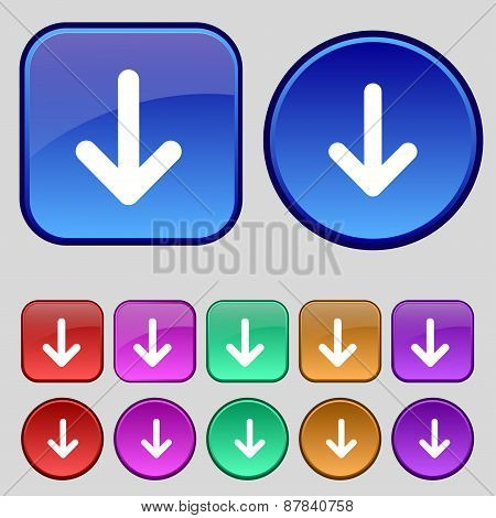 Arrow Down, Download, Load, Backup Icon Sign. A Set Of Twelve Vintage Buttons For Your Design. Vecto