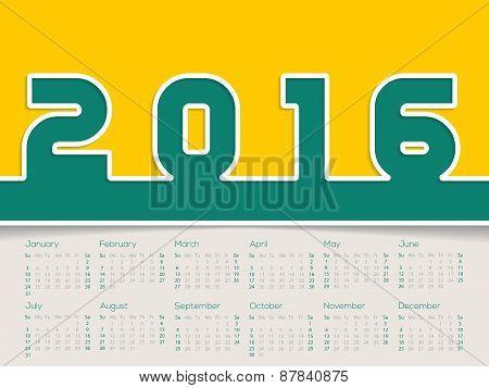 Simplistic 2016 Calendar