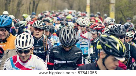 Garboavele, Galati, Romania , April 4, Unidentified Cyclists During The Annual Garboavele Xc Cycle R