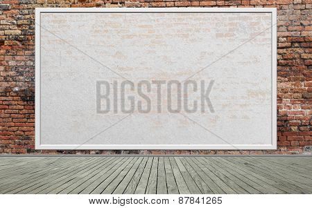 Street scene with Red brick wall and empty billboard