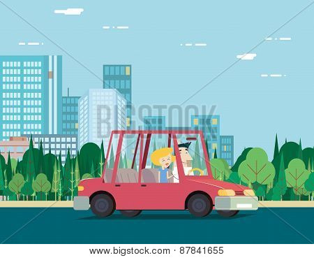Summer Day Nature Vacation Couple Car Travel Background City Landscape Flat Design Concept Icon Temp