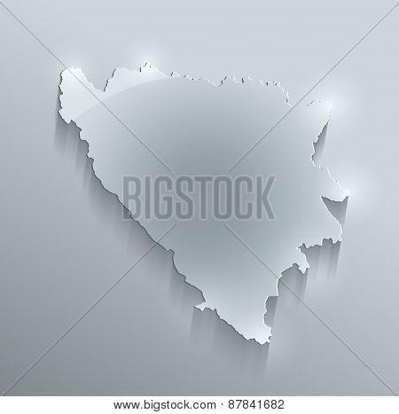 Bosnia and Herzegovina map glass card paper 3D raster