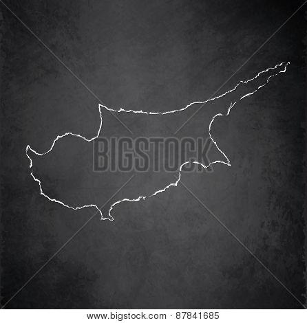 Cyprus map blackboard chalkboard raster